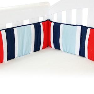 Babyhood Breezy Blue Cot Bumper – Red Blue