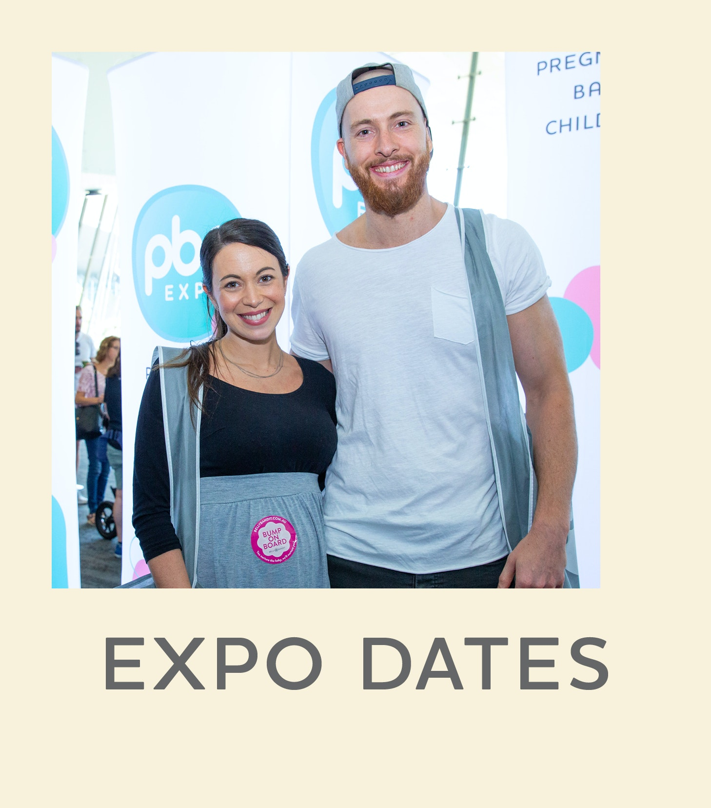 Image of couple at expo with text that reads Expo info