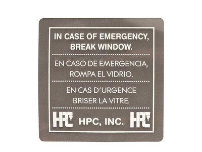 HPC Emergency Break Glass Box Replacement Plexiglass Panel