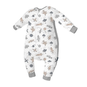 Domiamia  Silky Bamboo Long Sleeve Sleepsuit with Stretchy Side Panel- Spacecraft (1.0 Tog)