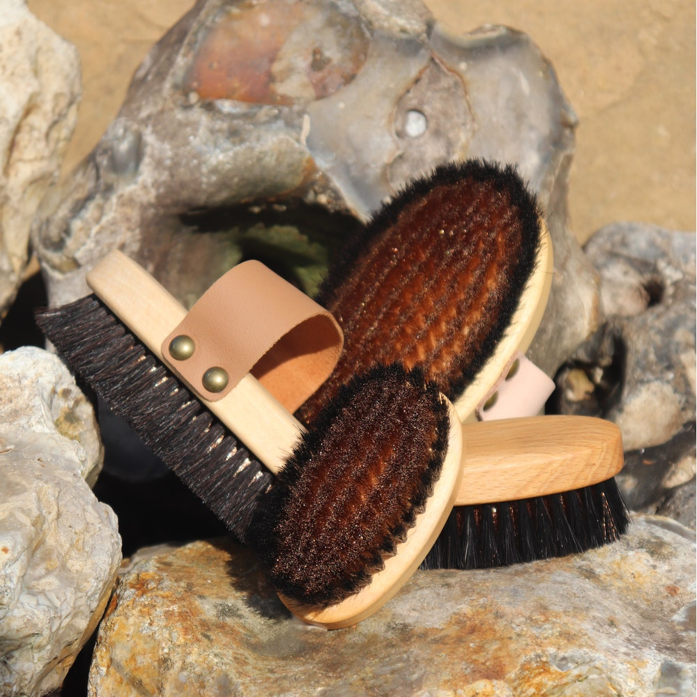 Natural Spa Supplies Ionic Dry Brush For Body Or Face Of Bronze And Horse Hair / Monastery Brush, Large And Or Small