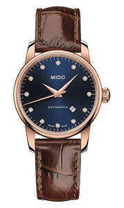 Mido Baroncelli Midnight Blue Lady - Stainless Steel with Rose Gold PVD  - Brown Leather Strap