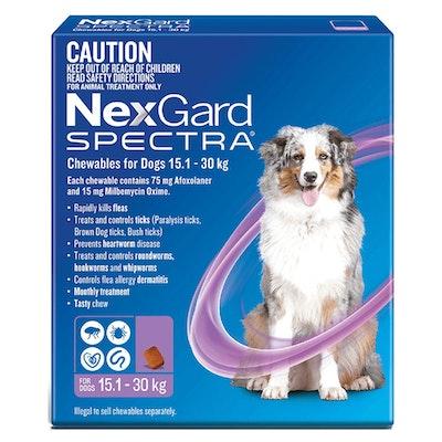 NexGard Spectra Dogs Chewables Tick & Flea Treatment 15.1-30kg - 2 Sizes