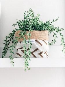 Mini Pot Plant Cover - Boho Reversible Hessian