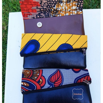 Enkishaa Accessories Pleather and fabric small purse