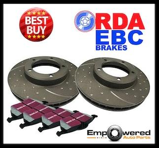 DIMP SLOT FRONT BRAKE ROTORS+ PADS for Nissan Pathfinder R51 2.5TD 7/2005-9/2013
