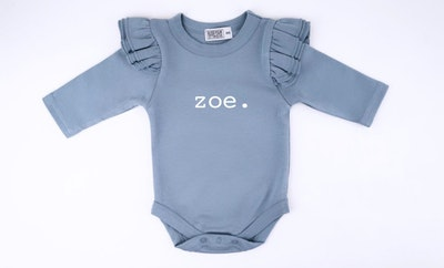 Personalised Powder Blue Flutter Onesie - Plain Font