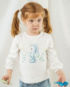 Certified Organic Cotton Seahorse Long Sleeve Tee