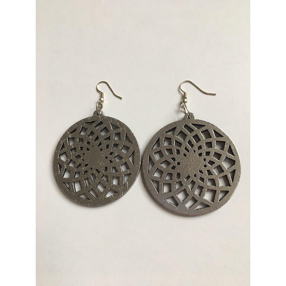 One of a Kind Club Silver Wood Spiral Circle Dangle Earrings