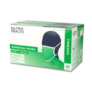 Ultra Health Surgical Mask - Level 3 - Anti-Fog - Ear Ties - Green (50 Pack)