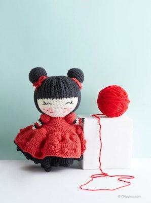 Chippico Australia  Ling Ling Asian Princess Doll Crochet Stuffed Doll