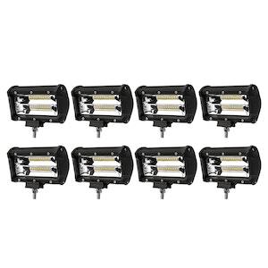 LIGHTFOX LIGHTFOX 8x 5inch LED Light Bar Flood Beam Reverse Work Lamp Offroad Driving 4x4
