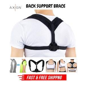 AXIGN Medical Posture Support Back Support Brace Corrector Strap Lumbar - Black