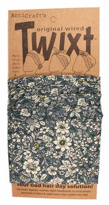 Meadow Flowers Liberty Style Teal Grey - Twixt / Wired Head Wrap