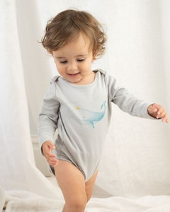 Certified Organic Cotton Whale Long Sleeve Bodysuit