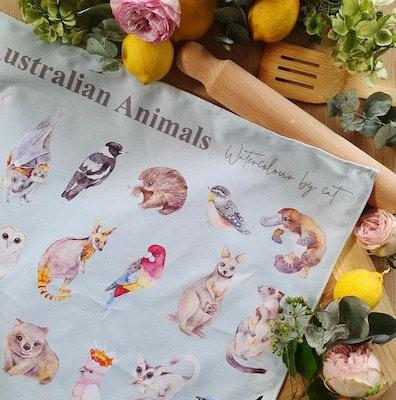 Watercolour by Cat Australian Animals Tea Towel