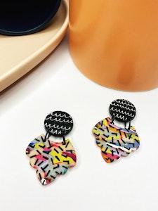 Rainbow Dashed Crown Dangle Earrings
