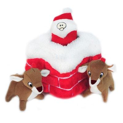 Zippy Paws Christmas Burrow   Reindeer & Santa Chimney