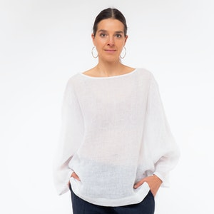 Linen Fly Away Top with Boat Neck, White