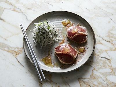 Sake Washed Tuna, Soybean Pesto & Yuzu Jelly