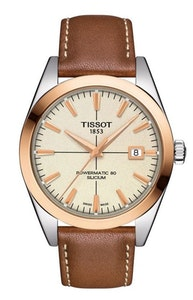 Tissot Gentleman Powermatic 80 Silicium Solid 18K Gold Bezel with Brown Creme Leather Strap