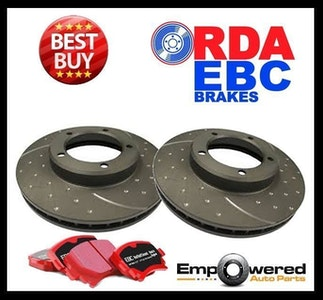 DIMPLED SLOTTED REAR DISC BRAKE ROTORS+CERAMIC PADS for BMW E46 330i 2000-2006