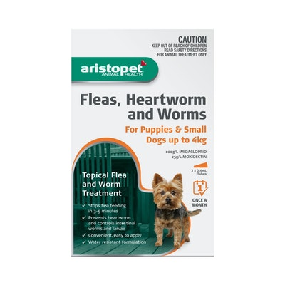 Aristopet Fleas, Heartworm & Worms For Puppie & Small Dogs up to 4kg