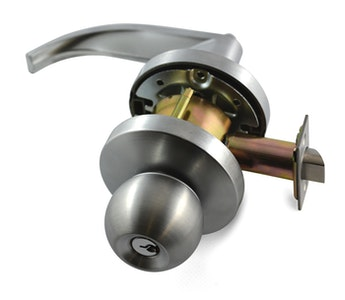 Carbine PD7062KN-L1 BCA & AS1428 complaint Vestibule / Storeroom lever with outside knob 70mm back set in satin chrome plate finish