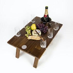 FOLDING WINE TABLE - 6 GLASS HARDWOOD