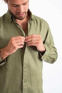 DESTii Khaki Long Sleeve Linen Shirt