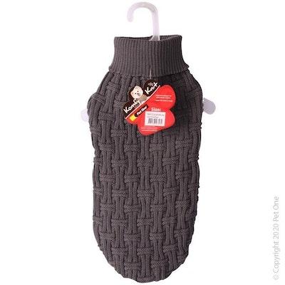 Pet One Dog Coat Komfy Knit Jumper Icelandic Dark Charcoal