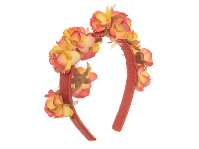 Jenny's Original Designs Yellow with Orange  tips Paper roses on Orange satin Headpiece