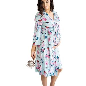 Marli & Me™ Bamboo Jersey Mama & Maternity Robe | Aqua Protea