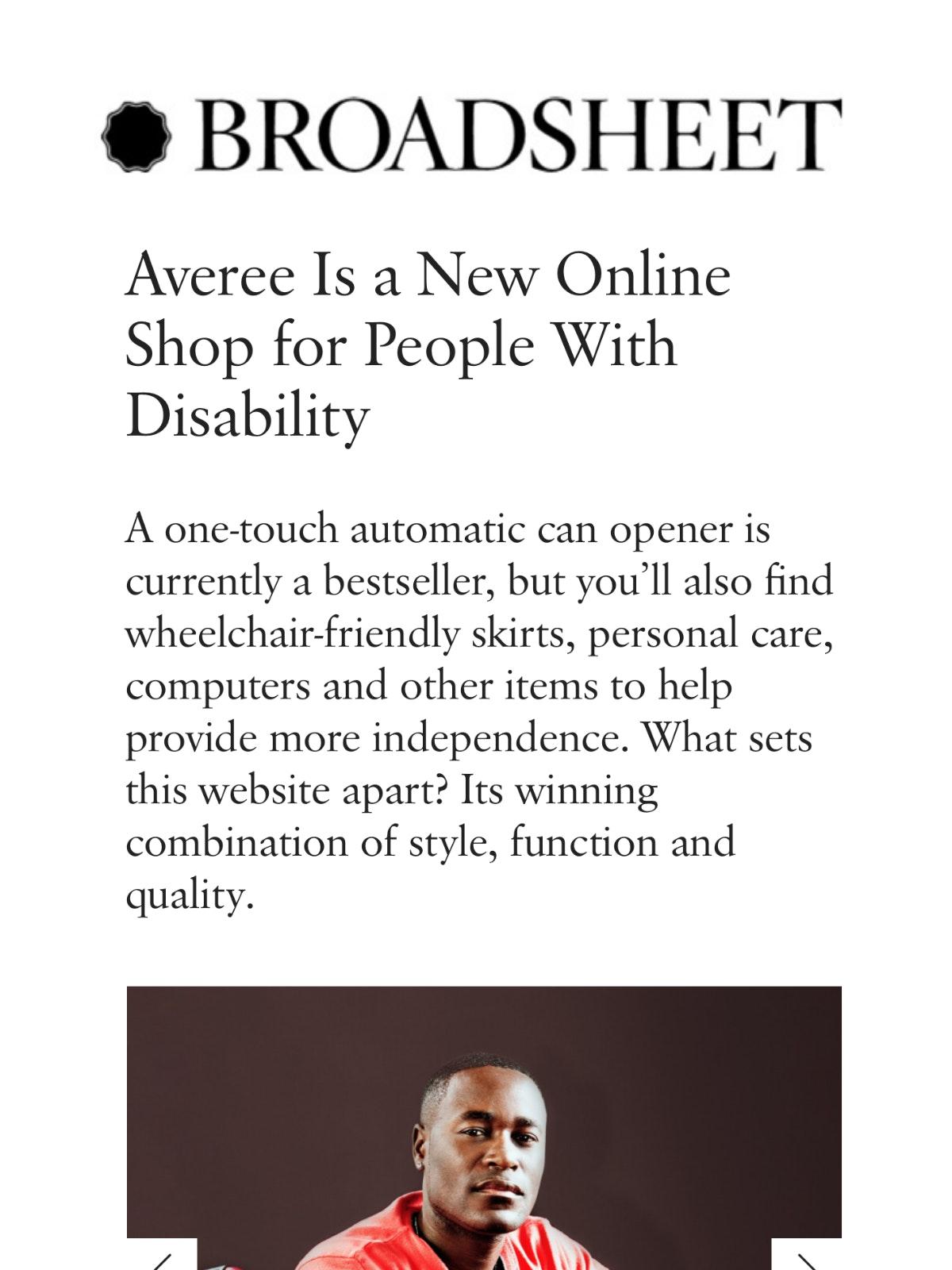 A screenshot of Broadsheet article