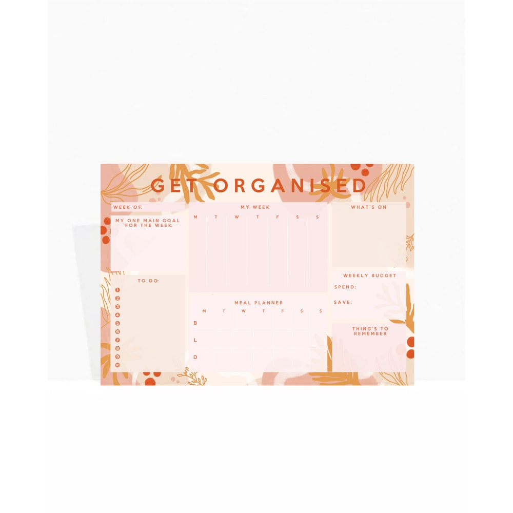 Brew Norfolk A4 Weekly Planner Pad - Sunset Collection