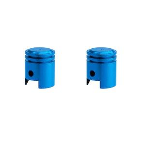 Pair Piston Valve Caps - Blue
