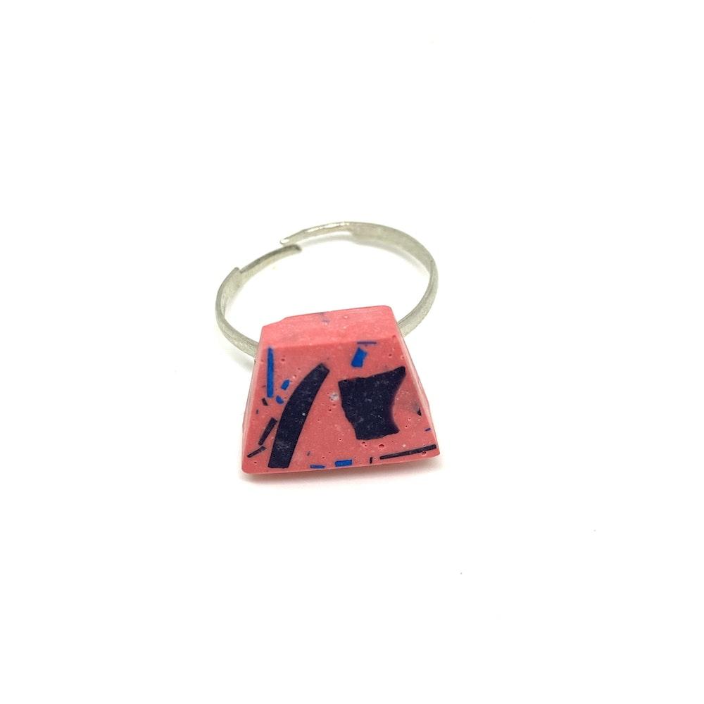 One of a Kind Club Pink Vivid Jesomite Trapezium Upside Ring
