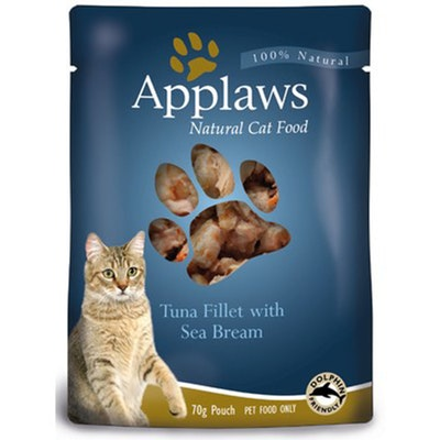 Applaws Natural Cat Food Tuna With Sea Bream Pouch 70g 16 Pack