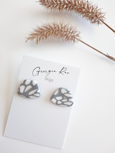 Rubi Studs in Grey and White