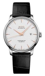 Mido Baroncelli Caliber 80 Chronometer Silicon Gent - Stainless Steel - Black Leather Strap