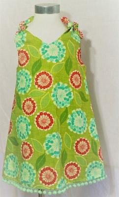 Handgrown Threads Dress - Size 2 - Flower Orange & Aqua on Green