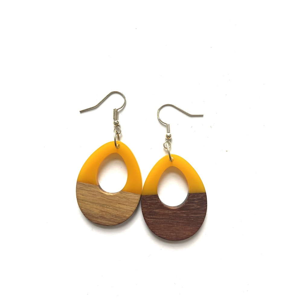 One of a Kind Club Yellow And Wood Edge Earrings