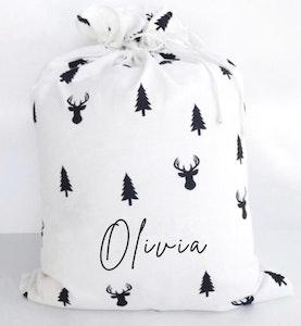 Santa Sack Reindeer & Trees - Fancy Font
