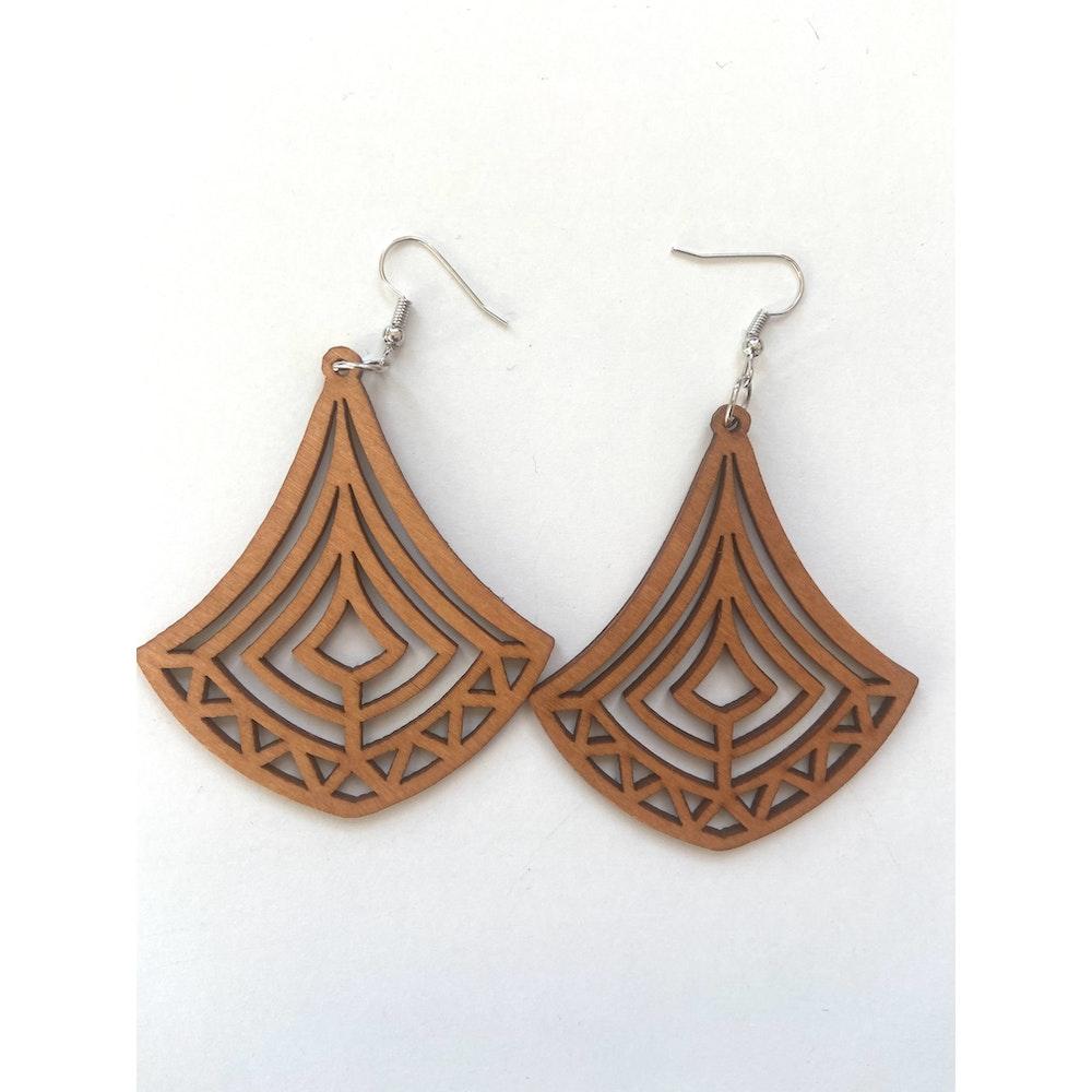 One of a Kind Club Wood Dangle Earrings