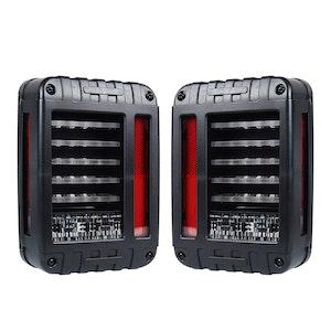 LIGHTFOX LIGHTFOX Pair LED Tail Lights for Jeep Wrangler JK 07-17