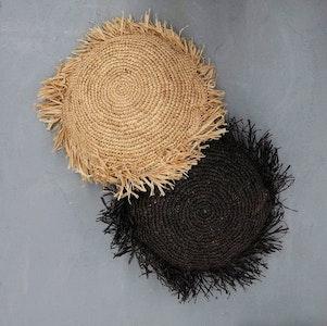 Handwoven Raffia Cushion –Black