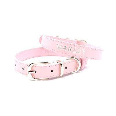 Petzy Light Pink - Premium Personalised Pet Collar (Silver)
