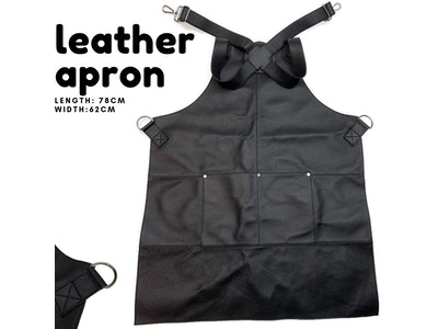 Boutique Medical BUFFALO LEATHER APRON Cooking Chef Hairdresser Waterproof Durable Quality - Black