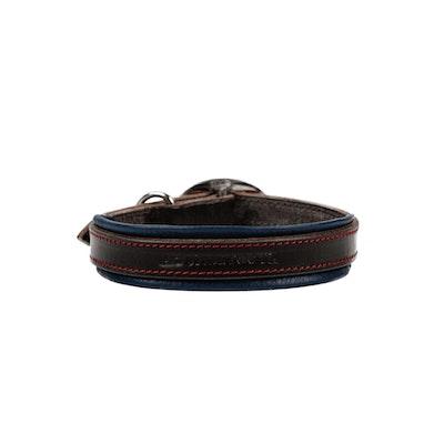 HOUNDZTOOTH Elegant Houndz Dog Collar Sapphire Blue & Black Leather