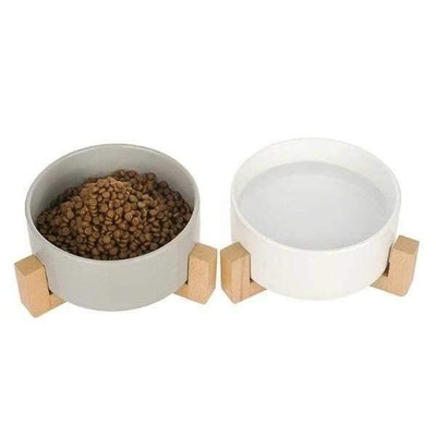 DoggyTopia Ceramic Bowl with Wooden Stand